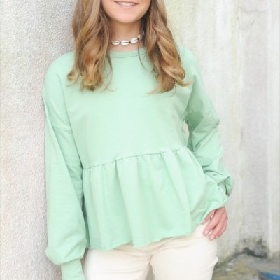 sweatshirt folho baixo verde
