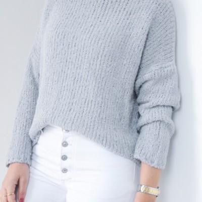 camisola cinza fio prata
