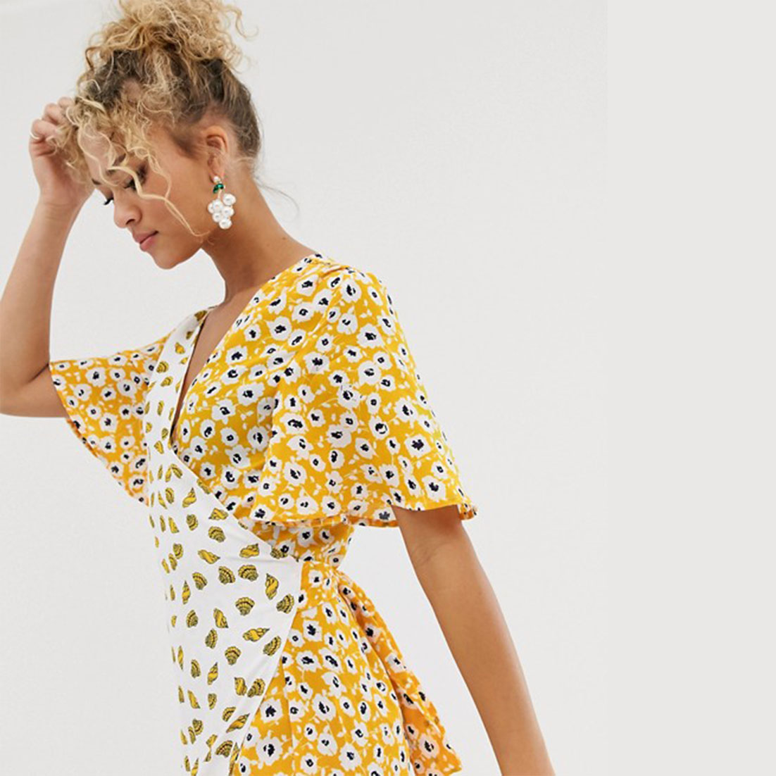 Contrast Wrap Dress Yellow - NEVER FULLY DRESSED