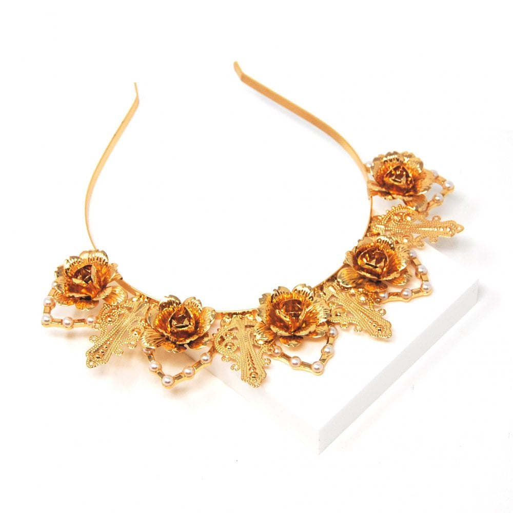 Gold Rose & Pearl Crown Headband - Johnny Loves Rosie