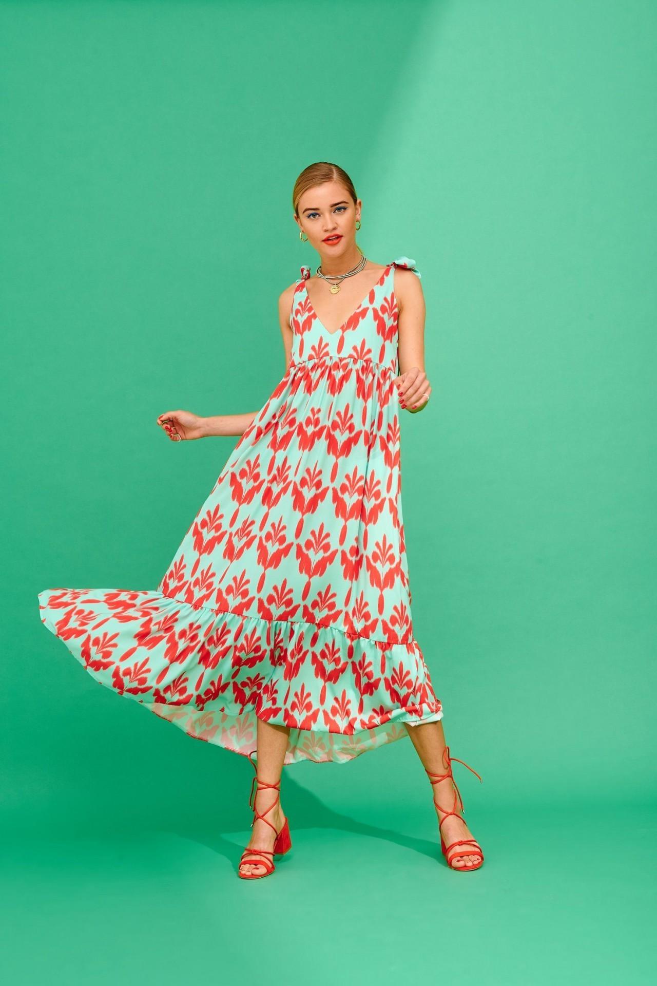 CRISTEL DRESS (MINT AND RED) - KARAVAN CLOTHING