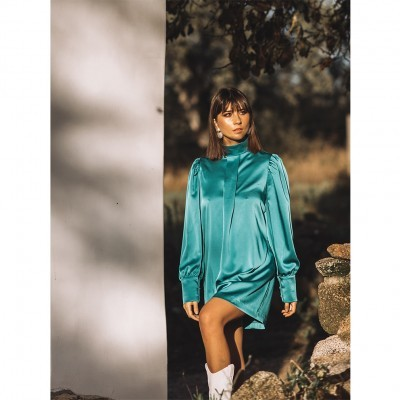 Vestido Curto Verde Com Gola - KAOÂ