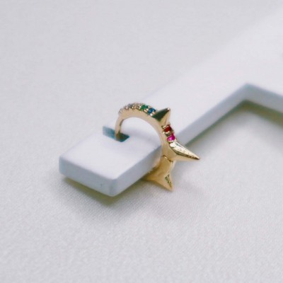 Mini Argola Spikes e Zircões Coloridos - 39a Brand