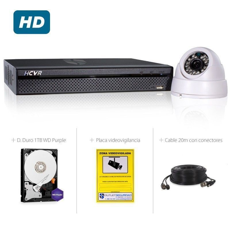 Kit HD-CVI com 8 Câmaras interior HD 720P mais gravador hibrido HD 8 Ch em tempo real HDMI