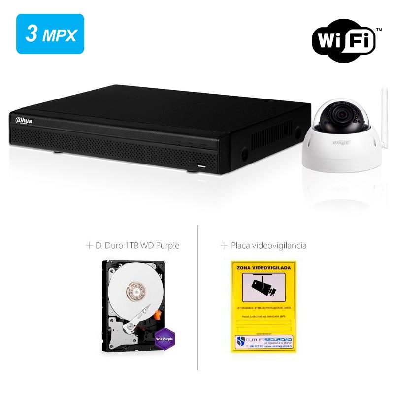 Kit IP Wifi com 2 Câmaras Minidome Exterior IP67 com 3 Mpx mais Gravador IP de 4 canais