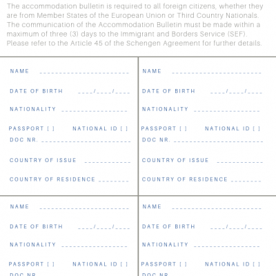 Reservation Agreement - Boletim de Alojamento (200 unidades)