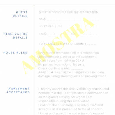 Reservation Agreement - Alojamento Local - Boletim de Alojamento