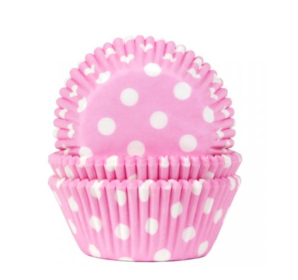 Formas cupcake rosa claro com bolinhas x100