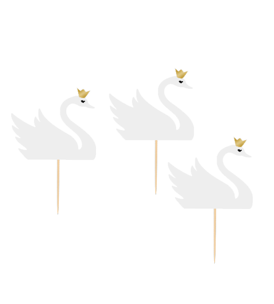 12 Cupcake toppers Lovely swan