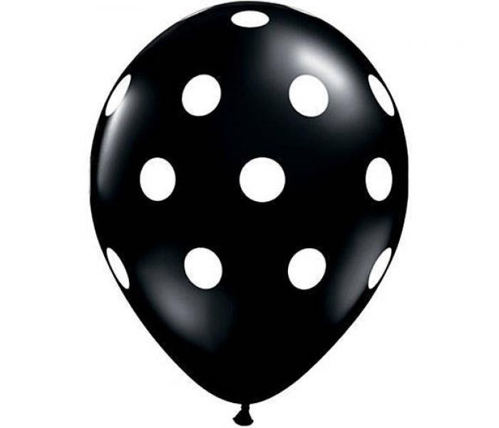 5 Balões pretos bolas brancas