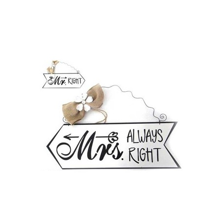 Placas Mr Right / Mrs always right