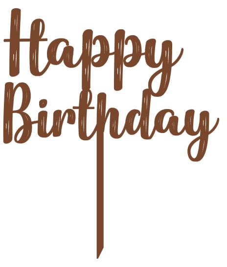 Topo de bolo Happy Birthday em madeira