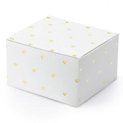 10 Caixas brinde brancas e corações dourados