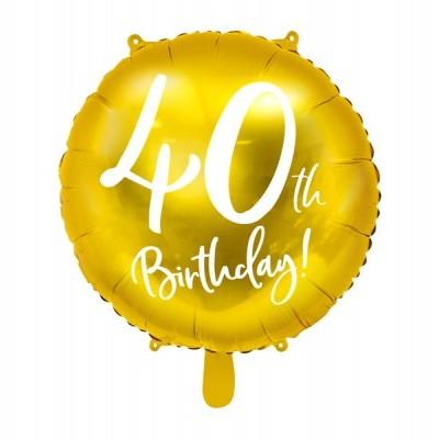 Balão foil 40th birthday ouro