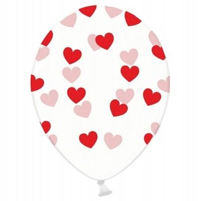 Balão latex transparente corações vermelhos