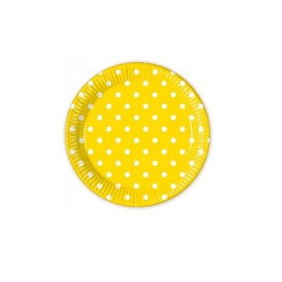 8 Pratos amarelo bolas 17cm
