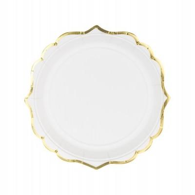 6 Pratos brancos e dourado