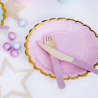 6 Pratos - rosa e dourado