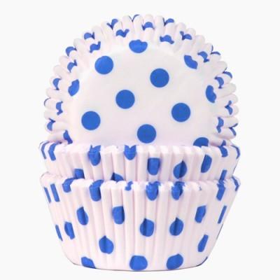 Formas cupcake bolinhas azuis x100