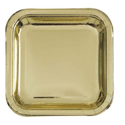 Pratos quadrado ouro foil 23cm