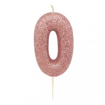Vela nº 0 glitter rosegold 7cm
