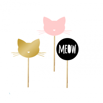 12 Cupcake toppers Meow