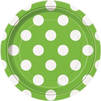 8 Pratos verde bolas 17cm