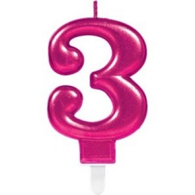 Vela nº rosa - 8cm