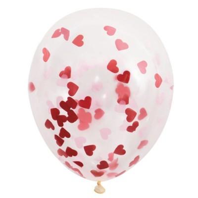 5 balões confetti coração