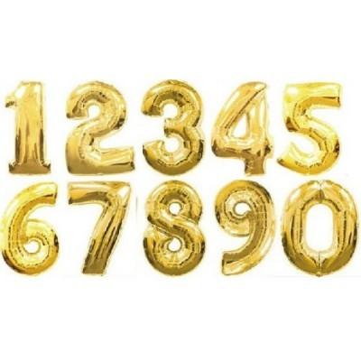 """Números 34"""" ouro"""