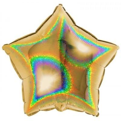 Balão foil estrela holográfica ouro