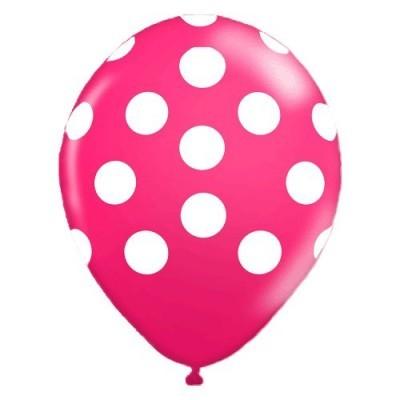 """Balões Bolinhas 12"""" rosa fushia"""