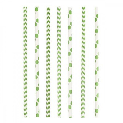 24 Palhinhas bolas/chevron verde