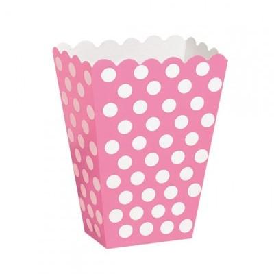 Caixas de pipocas rosa bolas