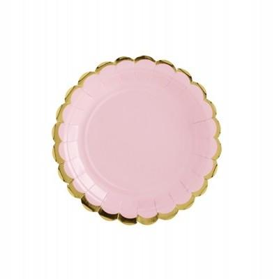 6 Pratos - rosa e dourado 18cm