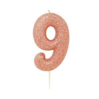 Vela nº 9 glitter rosegold 7cm