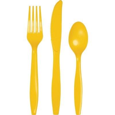 Set de 24 talheres amarelo torrado