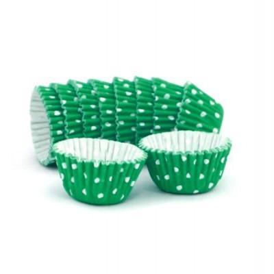 Formas cupcake verde com bolinhas x100