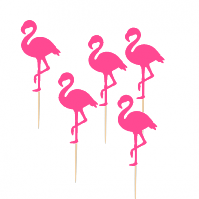 12 Cupcake toppers Flamingos