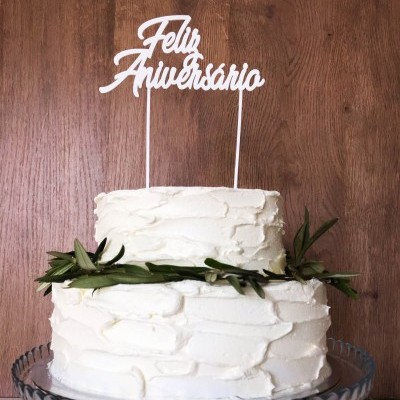 Topo de bolo Feliz Aniversário
