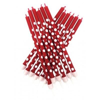 12 x Velas vermelhas bolas brancas