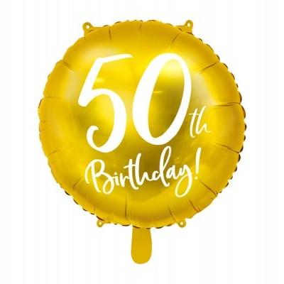 Balão foil 50th birthday ouro