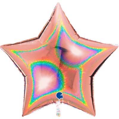 Balão foil estrela holográfica rose gold
