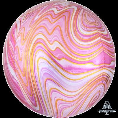Balão orbz marmoreado rosa
