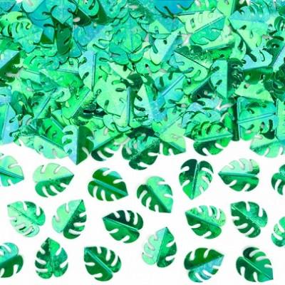 Confetti folhas verde metálico