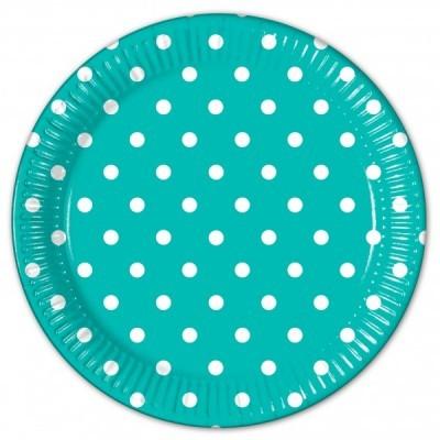 8 Pratos bolas azul turquesa 23cm