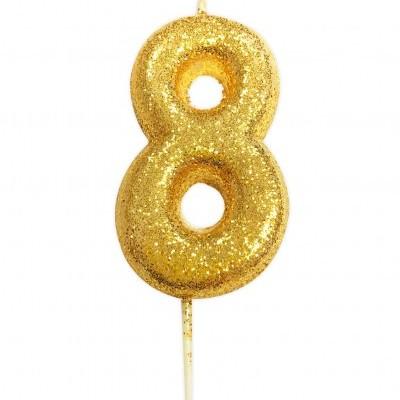 Vela nº 8 glitter ouro 7cm