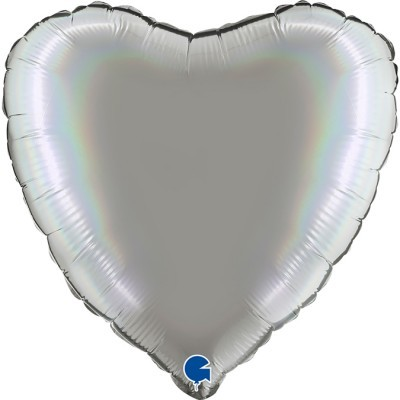 Balão coração acetinado Prata
