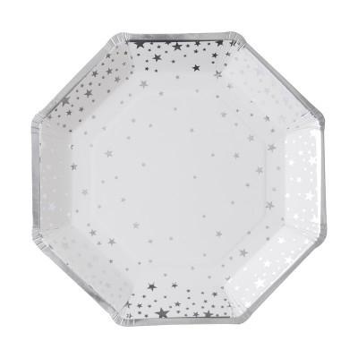 8 Pratos Estrelas prata foil
