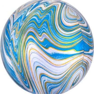 Balão orbz marmoreado azul
